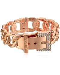 Guess Metallic Frozen Chain Link Buckle Hinge Bangle Bracelet