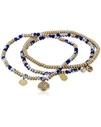 Kenneth Cole Mixed Blue Faceted Bead Stretch Bracelet