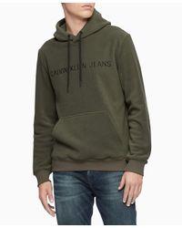 Calvin Klein Multicolor Logo Polar Fleece Popover Hoodie Sweatshirt for men