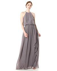 Donna Morgan Purple Alana Halter Blouson Gown
