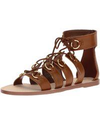 Nine West Brown Tayah Leather Gladiator Sandal