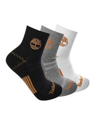 Timberland Black 3-pack Yellow Boot Shortie Half Cushioned Quarter Socks for men