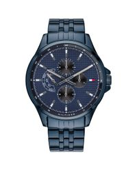 Tommy Hilfiger Blue Quartz Watch With Stainless Steel Strap for men