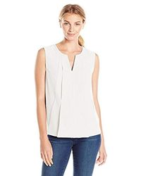 Ellen Tracy - White Split Neck Pleated Top - Lyst