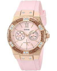 Guess Rose Gold-tone Stainles Steel + Pink Stain Resistant Silicone Watch With Day + Date Functions. Color: Pink