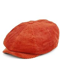 Brixton Red Brood Newsboy Cord Snap Hat for men