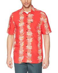 Volcom Red Palm Glitch Short Sleeve Button Up Shirt for men