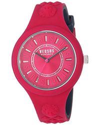 Versus  - Pink 'fire Island Bicolor' Quartz Stainless Steel And Silicone Watch, Color:two Tone (model: Vspoq2318) - Lyst