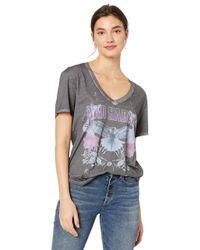 Shirt à manches courtes pour femme avec col en V - Noir - Taille Guess en coloris Gray