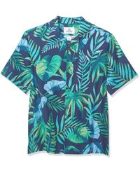 28 Palms Blue Relaxed-fit 100% Silk Tropical Hawaiian Shirt for men