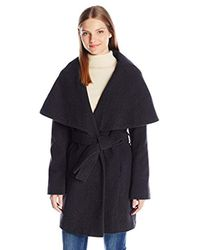 T Tahari Blue Marla Wool Coat With Oversized Collar New Name: Marylin