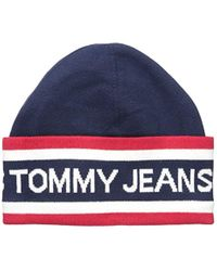 Tommy Hilfiger Blue Tommy Jeans Beanie Heritage Logo, Red/white/navy, One Size for men