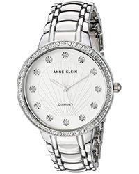 Anne Klein Metallic Diamond-accented Bracelet Watch