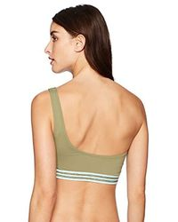 Vince Camuto Natural One Shoulder Bikini Top Swimsuit With Elastic Trim