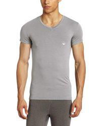 Emporio Armani Gray Soft Cotton Vneck for men