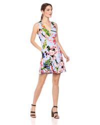Vince Camuto Blue Printed Scuba Fit And Flare Dress