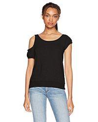 Pam & Gela Black Cold Shoulder Sweatshirt