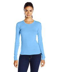 Three Dots Blue Long-sleeve Crew-neck T-shirt