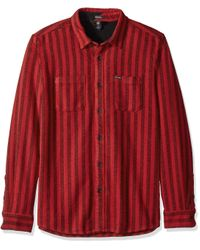 Volcom Red Shader Modern Fit Woven Long Sleeve Button Up Shirt for men
