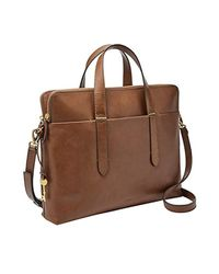 Fossil Brown Bridgitte Leather Laptop Bag