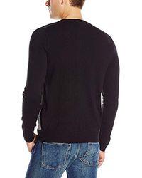Geoffrey Beene Black Bird's Eye Patches Crew-neck Sweater for men