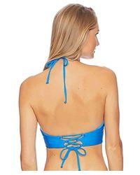 Ella Moss Shiny Spice Crop Bikini Top (stone Blue) Swimwear