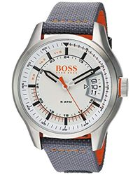 BOSS - Gray 'hong Kong Sport' Quartz Stainless Steel And Nylon Casual Watch, Color:grey (model: 1550015) for Men - Lyst