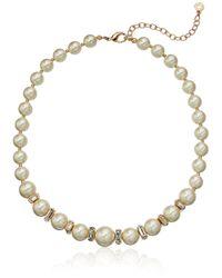 Anne Klein Metallic Gold Tone Blanc Pearl Collar Necklace