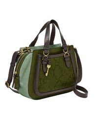 Fossil Green Allie Leather Satchel Purse Handbag