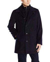 Nautica - Blue Wool-blend Topcoat With Knit-collar Insert for Men - Lyst