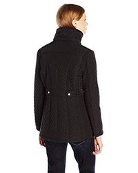 Jessica Simpson Black Quilted Coat With Faux Fur Hood