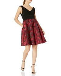 Adrianna Papell Red Portrait Bodice Fit And Flare Petite