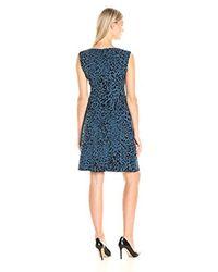 Anne Klein - Blue Crepe Animal Printed Dropped Waist Dress - Lyst