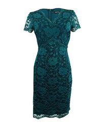 Ellen Tracy Blue Lace Dress With V-neck-petite