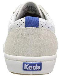 Keds White Tournament Retro Court Perf Leather Fashion Sneaker