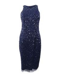 Adrianna Papell Blue Short Beaded Halter Dress