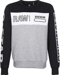 G-Star RAW Gray Swando Block Graphic Sweater Dk Black/white/grey Htr for men