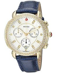 Michele Metallic Swiss Quartz Stainless Steel And Lizard Casual Watch, Color:blue (model: Mww30a000016)