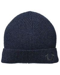 Lyst - True Religion Ribbed-knit Watch Cap in Blue for Men c0b47d8886fe