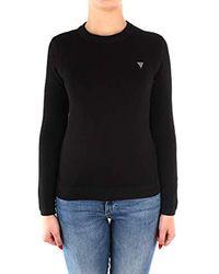 T-Shirt Stretch col Rond, Manches Longues Guess en coloris Black