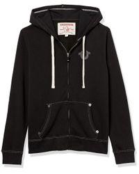 True Religion Black Classic Logo Long Sleeve Zip Up Hoodie Hooded Sweatshirt for men
