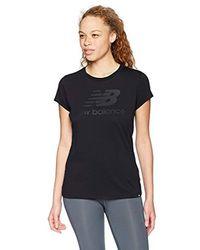 New Balance Black T-Shirt Essentials Stacked Logo