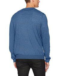 Calvin Klein - Blue Merino Birdseye Windowpane V-neck Sweater for Men - Lyst