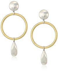Lucky Brand - Metallic Two Tone Circle Earrings - Lyst