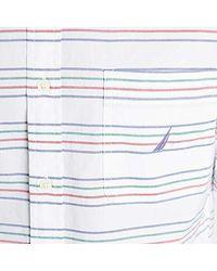 Classic Fit Striped Poplin Shirt di Nautica in White da Uomo