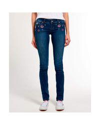 Superdry Blue Super Skinny Embellished Pants Malibu Lux 32