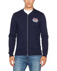 Tommy Hilfiger Blue Basic Logo Zipthru Sweatshirt for men