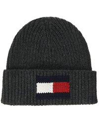 Tommy Hilfiger Gray Wool Blend Knitted Flag Beanie Grey for men