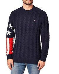 Tjm Americana Flag Sweater Felpa Uomo di Tommy Hilfiger in Blue da Uomo