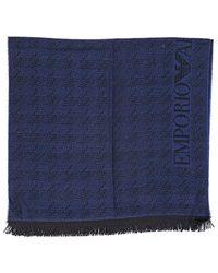 Écharpe homme en laine blu Emporio Armani pour homme en coloris Blue